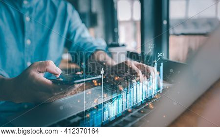 2021 Business Finance Technology And Investment Concept. Stock Market Investments Funds And Digital