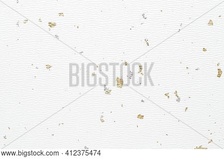 Handmade Japanese Rice Paper With Gold Powder Or Thread For Background