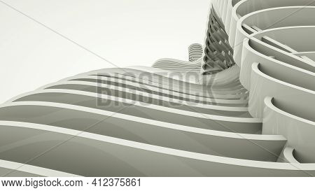 Light Abstract Three-dimensional Background. 3D Render Illustration