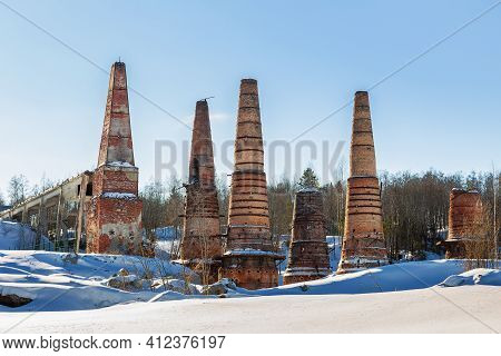 Lime Kilns At An Abandoned Marble And Lime Plant In Ruskeala, Karelia