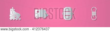 Set Paper Cut Roller Skate, Ambulance And Emergency Car, Rafting Boat And Climber Rope Icon. Paper A