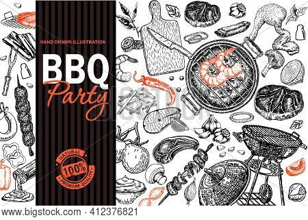 Bbq Grill Restaurant Food Menu Design. Barbecue Cafe Brochure, Flyer, Booklet, Card. Grill Menu Card