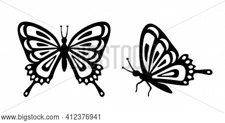 Butterfly Set. Stencil Butterfly, Moth Wings And Flying Insects. Butterflies Tattoo Sketch, Fly Inse