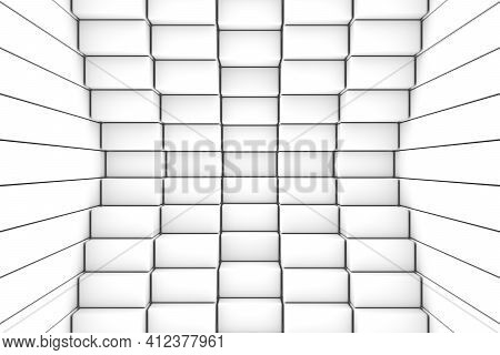 Black And White Boxes Abstract Background 3d Render Illustration