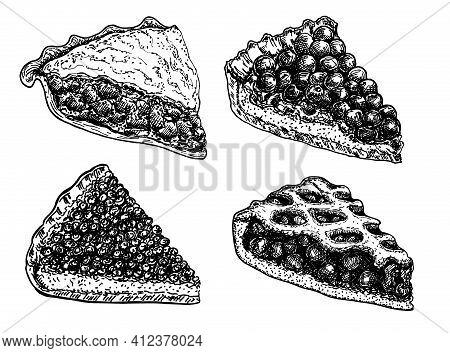 Homemade Pie Set. Hand Drawn Sketch Dessert. Food Elements. Vector Ink Hand Drawn Illustration. Menu
