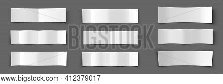 Text Box. Paper Banners Set. Shadow Effect. Bending Paper Template. Vector Illustration