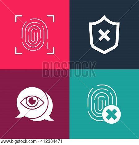 Set Pop Art Cancelled Fingerprint, Eye Scan, Shield With Cross Mark And Fingerprint Icon. Vector