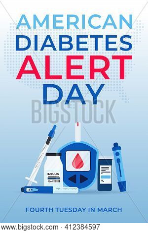 American Diabetes Alert Day Banner With Insulin Pen, Glucometer, Lancets, Test Strips And Syringe. C