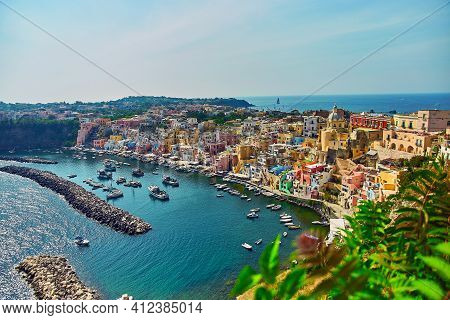 Procida Island, Naples, Italy, Colorful Houses In Marina Di Corricella