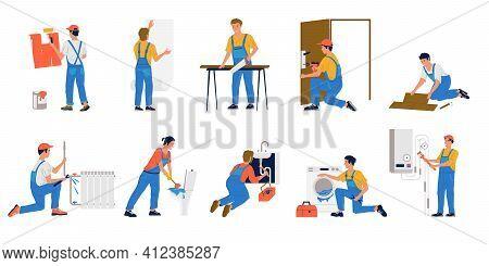 Repairman. Workmen Making Renovation. Builders Painting And Gluing Wallpaper. Plumbers Fixing Leakin