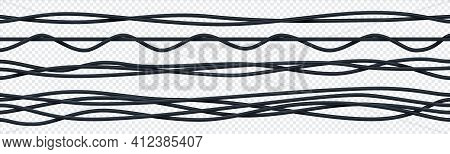 Realistic Electrical Cable. 3d Seamless Insulated Electric Copper Wires. Curved Bunch Of Black Ropes