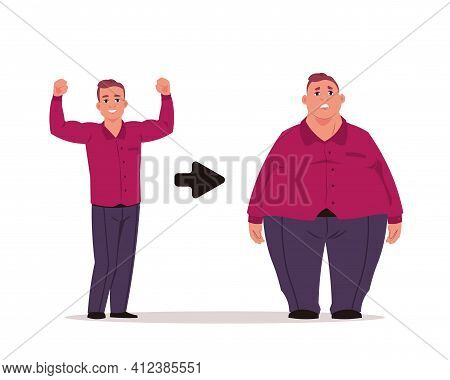 Fat Man. Slim And Overweight Characters, Before And After Diet Concept. Handsome Athletic Person Eat