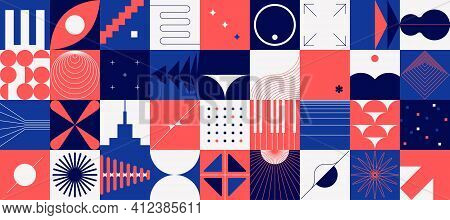 Brutalism Shapes. Abstract Minimal Background. Composition Of Red And Blue Geometric Figures In Squa