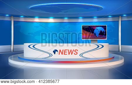 News Room. Realistic Studio For Recording Tv Programs. 3d Newscasters Table And Presentation Monitor