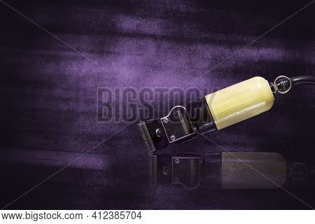 Vintage, Old, Hair Clipper, On Shabby Purple Background. Barbershop Background. Reflection. Copy Spa