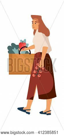 Woman At Grocery Store. Shopping Concept. Cartoon Female Making Purchases. Isolated Girl Carrying Ba