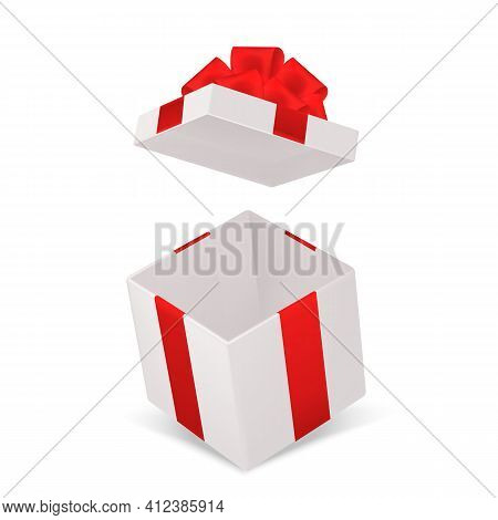 Open Gift Box. Realistic Cardboard Cube Container With Red Bow Angle View. Decorative Empty Pack Moc