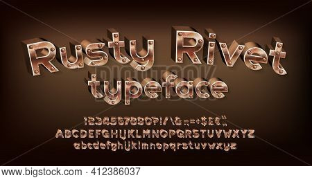 Rusty Rivet Alphabet Font. Steampunk 3d Letters, Numbers And Punctuations. Uppercase And Lowercase.