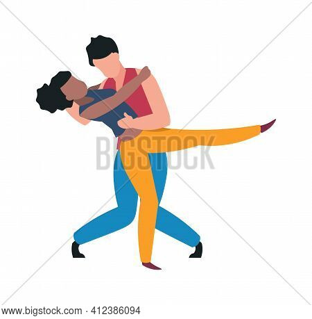 Dancers. Cartoon Couple Dancing Tango. Hugged Man And Woman Moving To Music. Choreographic Active Mo