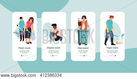 Recycle Rubbish Mobile Application. People Sorting Plastic And Glass Waste, Collecting Trash In Park