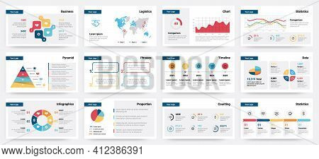 Presentation Mockup. Modern Business Slide Template, Corporate Advertising Layout. Colorful Analytic