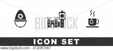 Set British Police Helmet, Big Ben Tower And Cup Of Tea With Tea Bag Icon. Vector