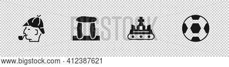 Set Sherlock Holmes, Stonehenge, British Crown And Football Ball Icon. Vector
