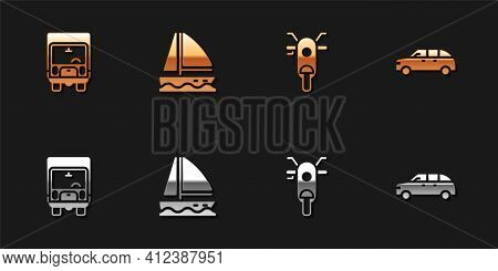 Set Delivery Cargo Truck, Yacht Sailboat, Scooter And Hatchback Icon. Vector
