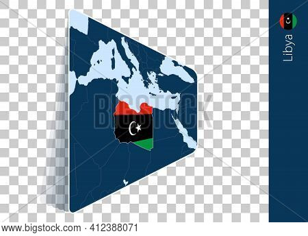 Libya Map And Flag On Transparent Background. Highlighted Libya On Blue Vector Map.