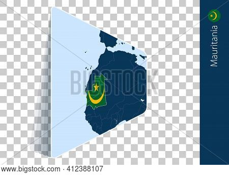 Mauritania Map And Flag On Transparent Background. Highlighted Mauritania On Blue Vector Map.