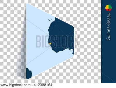 Guinea-bissau Map And Flag On Transparent Background. Highlighted Guinea-bissau On Blue Vector Map.