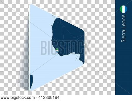 Sierra Leone Map And Flag On Transparent Background. Highlighted Sierra Leone On Blue Vector Map.