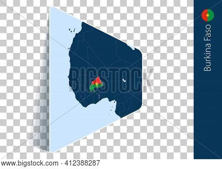 Burkina Faso Map And Flag On Transparent Background. Highlighted Burkina Faso On Blue Vector Map.