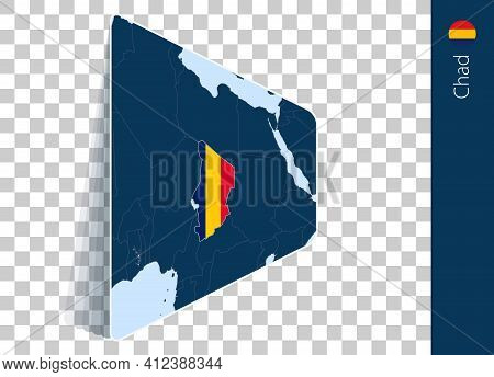 Chad Map And Flag On Transparent Background. Highlighted Chad On Blue Vector Map.