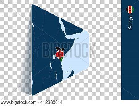 Kenya Map And Flag On Transparent Background. Highlighted Kenya On Blue Vector Map.