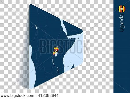 Uganda Map And Flag On Transparent Background. Highlighted Uganda On Blue Vector Map.