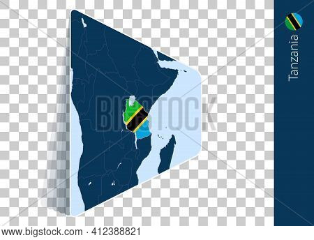 Tanzania Map And Flag On Transparent Background. Highlighted Tanzania On Blue Vector Map.