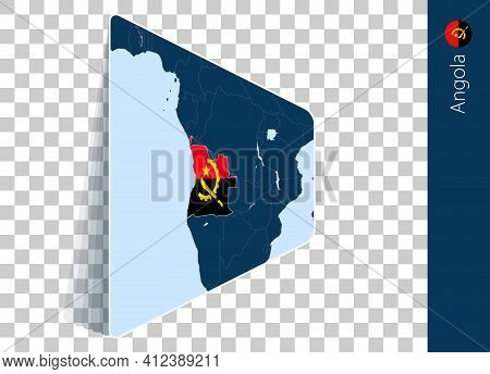 Angola Map And Flag On Transparent Background. Highlighted Angola On Blue Vector Map.