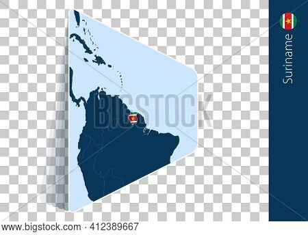 Suriname Map And Flag On Transparent Background. Highlighted Suriname On Blue Vector Map.
