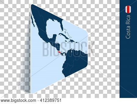Costa Rica Map And Flag On Transparent Background. Highlighted Costa Rica On Blue Vector Map.