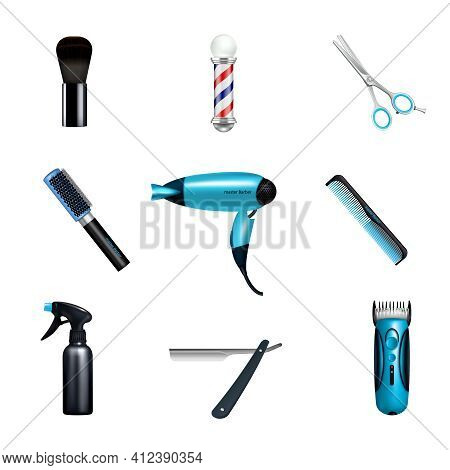 Colored And Isolated Barbershop Icon Set With Hairdressers And Hairstylists Working Tools Vector Ill