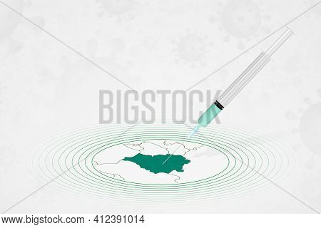 Belarus Vaccination Concept, Vaccine Injection In Map Of Belarus. Vaccine And Vaccination Against Co