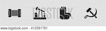 Set Accordion, Oil Pump Pump Jack, Valenki And Hammer And Sickle Ussr Icon. Vector