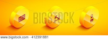 Set Isometric Made In Russia, Hammer And Sickle Ussr And Russian Doll Matryoshka Icon. Vector