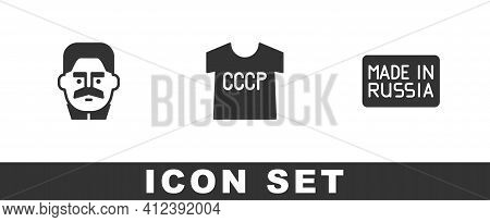 Set Joseph Stalin, Ussr T-shirt And Made Russia Icon. Vector
