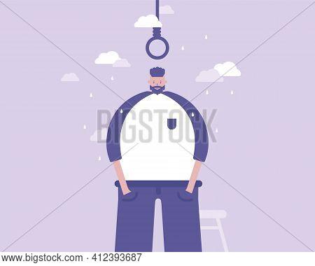 Man Wants To Commit Suicide. Depression Concept.
