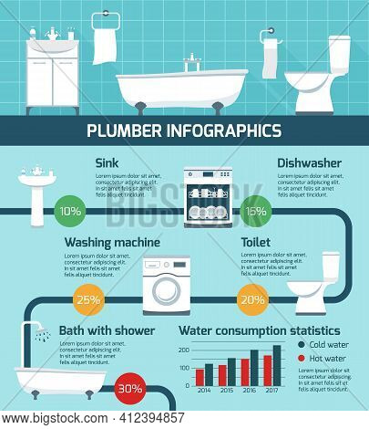 Plumber Infographics With Realistic Sanitary Fixtures Flat Images Flowchart With Circle Percentage D
