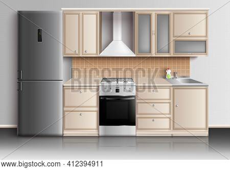 Kitchen Furniture Realistic Interior Composition With Closed Kitchen Cabinets Fridge Sink And Gas St