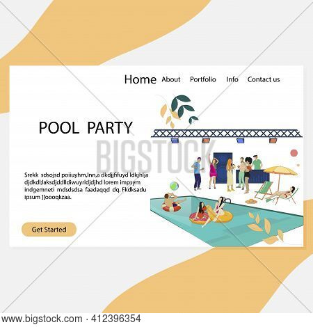 Pool Party Landing Page, Luxury And Vip Summer Disco. Vector Party Disco, People Dance And Drink Ill