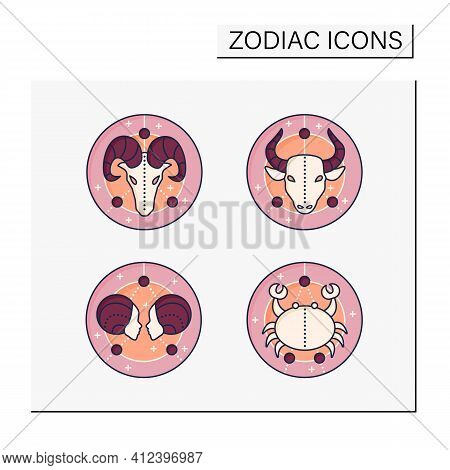 Zodiac Color Icons Set. Fourth Fire Signs In Zodiac. Birth Symbols.cancer, Gemini, Aries, Taurus. My